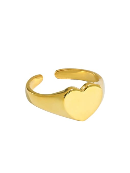 Gold [13 adjustable] 925 Sterling Silver Heart Minimalist Band Ring